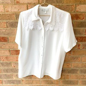 Vintage Kathy Che White Pearl Lace Western Shirt